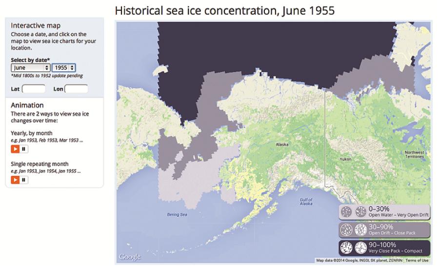 Interactive Map Of Alaska.Historical Sea Ice Atlas Now Online Alaska Ocean Observing System