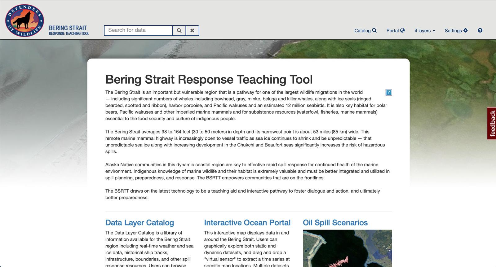 Screen grab of bering strait response teaching tool page in AOOS data portal.