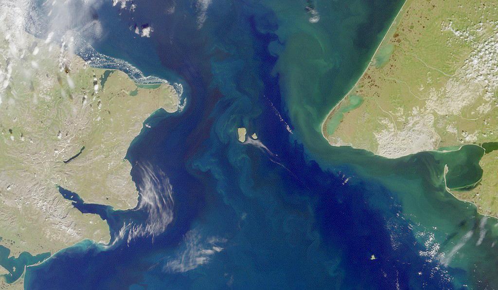 Satellite view of Bering Strait region.